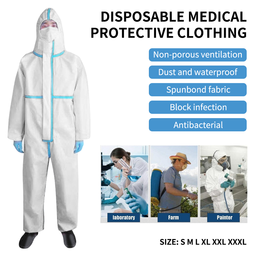 Medical Protective Clothing Coverall Disposable Antistatic Chemical Work Clothes Anti-dust Anti-fog Protective Suit S-3XL