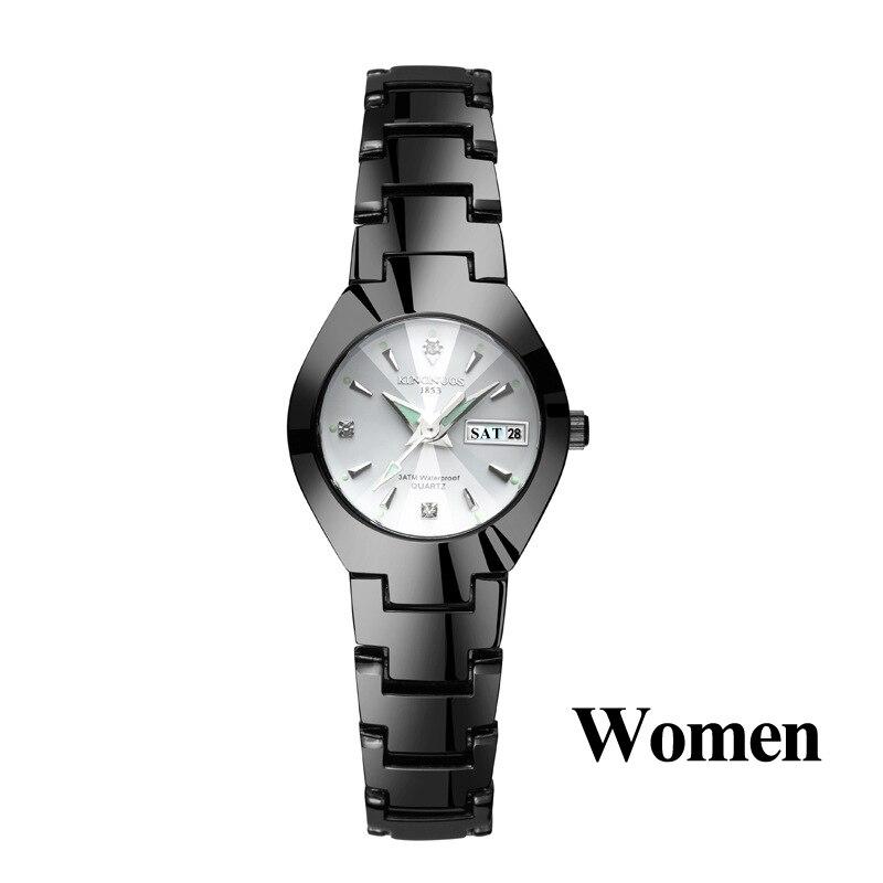 Часы для влюбленных Роскошные Кварцевые наручные часы для мужчин и женщин Hodinky Dual Calender Week steel Saat Reloj Mujer Hombre парные часы - Цвет: Women Black White