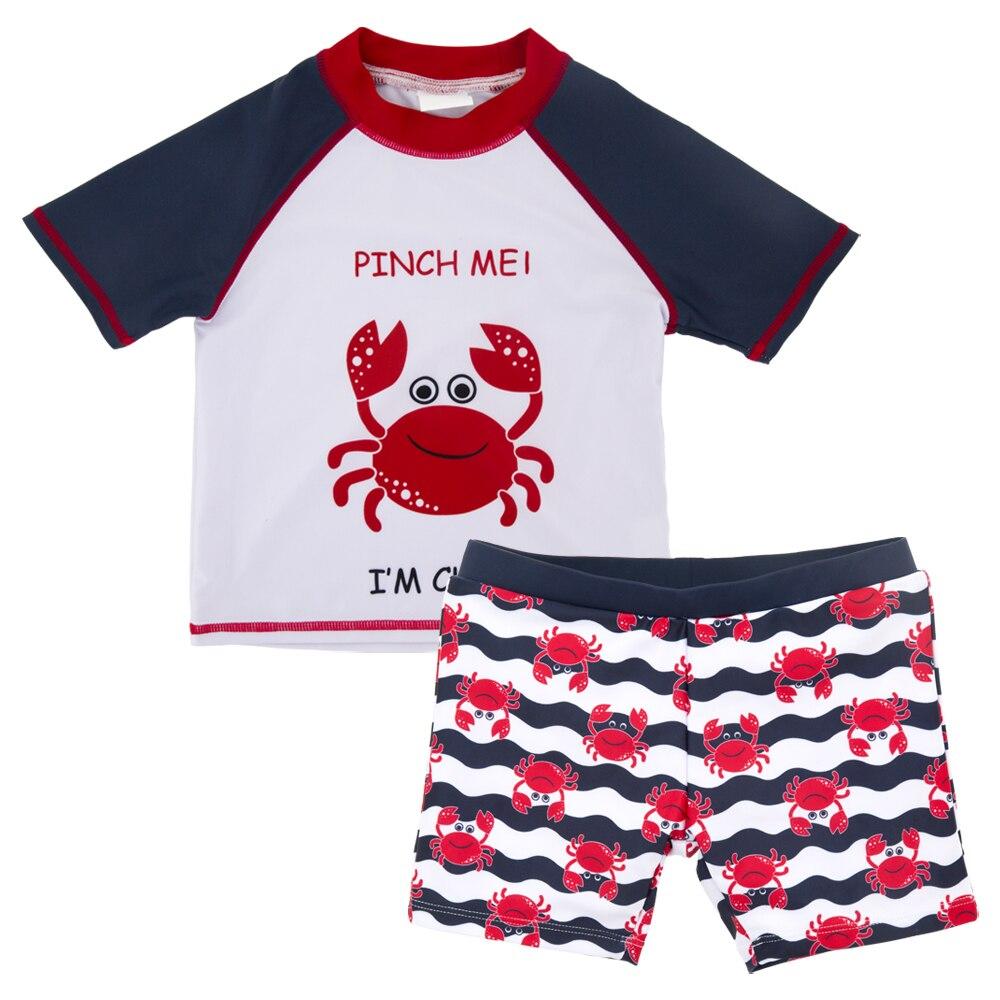 Honeyzone 2020 Baby Boy Swimming Suits 3-10Years 2PCS Cute Cartoon Crab Swimwear+ Shorts Kids Children Beachwear Bimba Y Lola