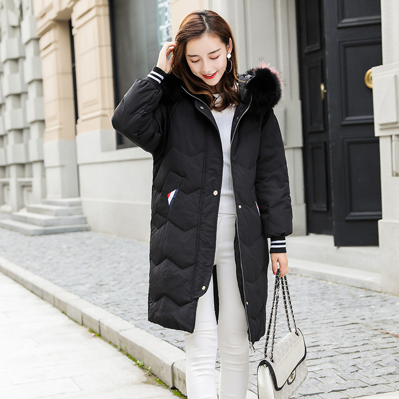 Women's Winter Down Jackets Thick Warm White Duck Down Coat Female Large Real Raccoon Fur Hooded Long Parka Coats LW1108