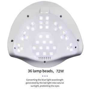 Image 5 - 72W UV 램프 LED 네일 램프 네일 건조기 듀얼 손 36PCS LED 치료 UV 젤 매니큐어 모션 감지 LCD 디스플레이
