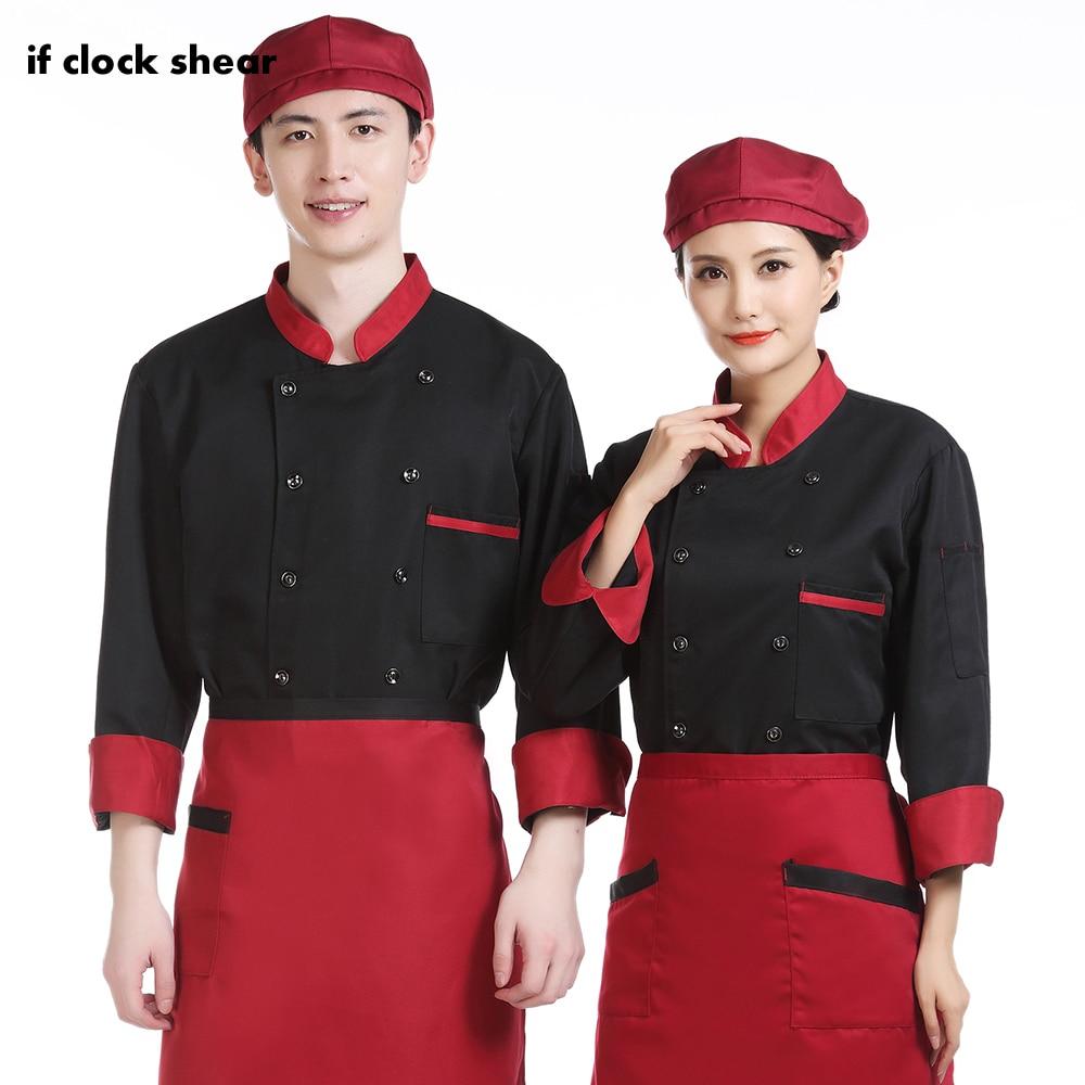 Unisex Long Sleeve Kitchen Restaurant Work Clothes Breakfast Shop Chef Coat Casual Soft Kitchen Jacket Food Service Chef Uniform