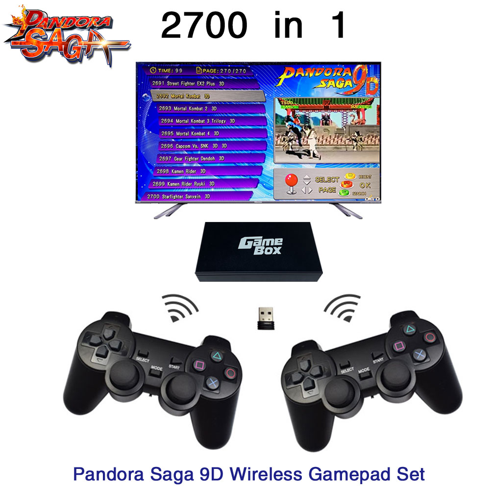 2700 In 1 Pandora Saga Box 9D Board 2 Players Wired Gamepad And Wireless Gamepad Set Usb Connect Joypad Arcade 3D Games Tekken