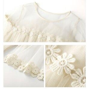 Image 2 - Flare kol kanca çiçek gevşek orta uzunlukta etek mizaç ekleme mesh kek etek elbise