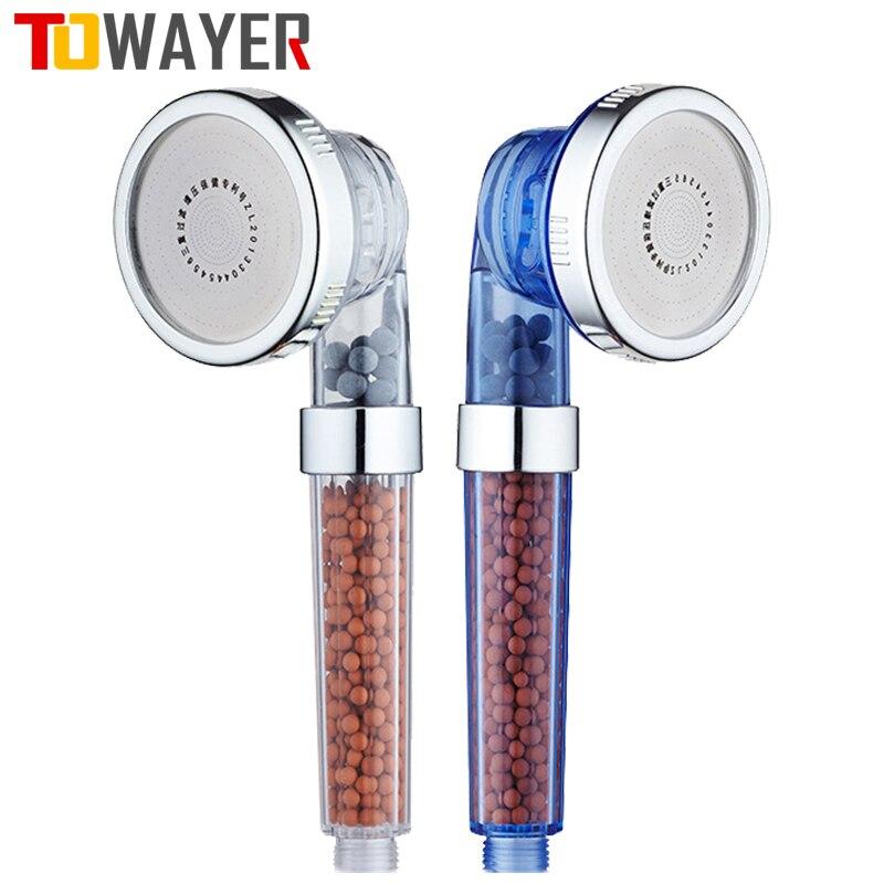 Towayer 3 Функция регулируемые струйное Насадки для душа Ванная комната высокого Давление воды ручной душ-сберегающий фильтр спа Насадки для д...