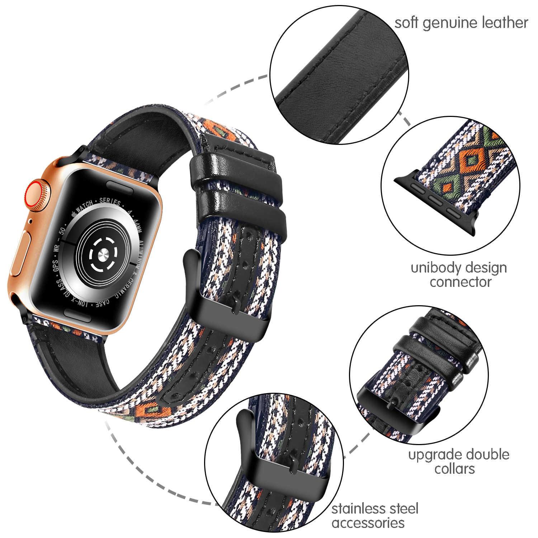 Delle donne di Cuoio e Fascia di Nylon per Apple Orologio 44 millimetri 42 millimetri 40 millimetri 38 millimetri Gli Uomini Fatti A Mano Cinturino in Tessuto braccialetto per iWatch Serie 4 3 2 1