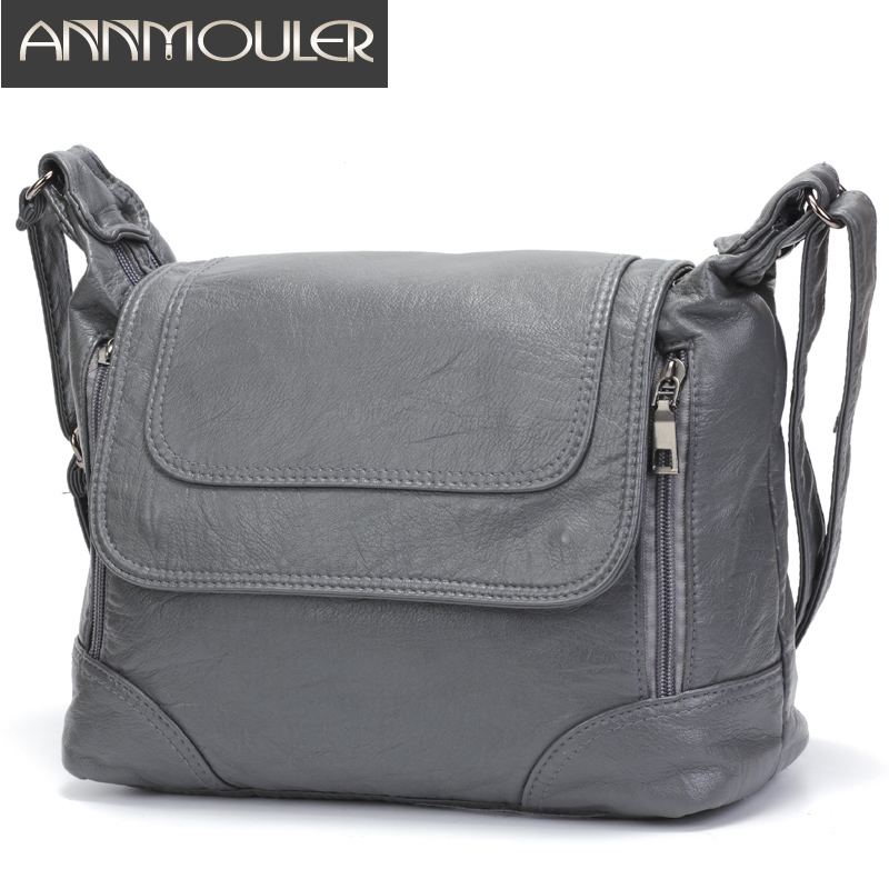 Annmouler Large Capacity Women Crossbody Bag Brand Shoulder Bag Soft Pu Leather Messenger Bag Large Tote Bag Quality Women Bolsa