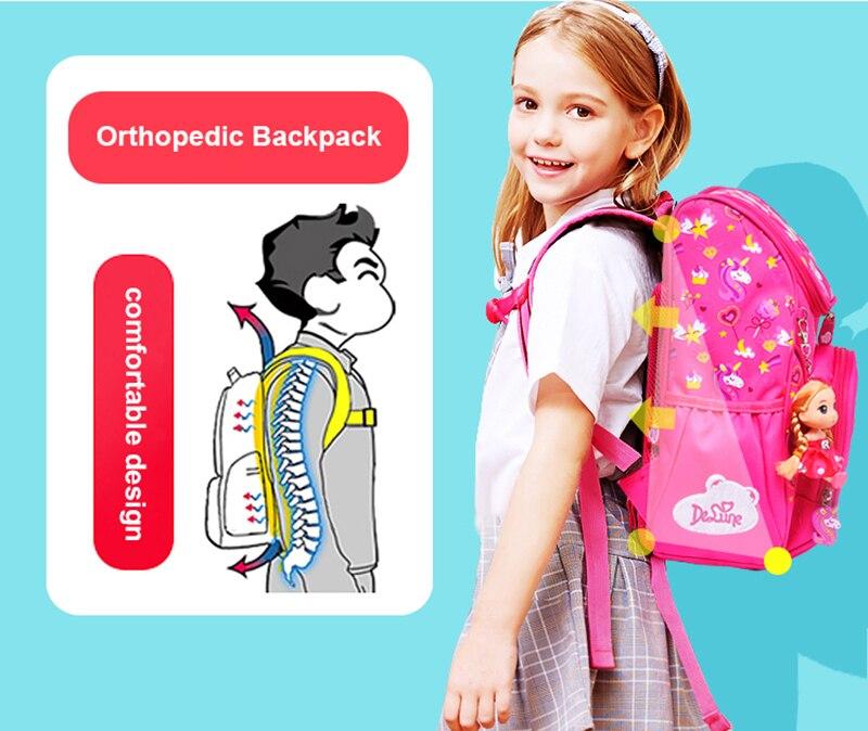 Delune crianças ortopédico mochilas para meninas padrão