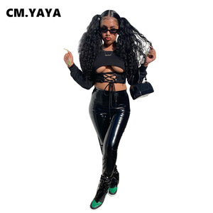 CM.YAYA Sporty Women's Set Hollow Out Tee Top PU Jogger Pants Suit Active Wear Tracksuit Two Piece Set Fitness Sexy Outfits