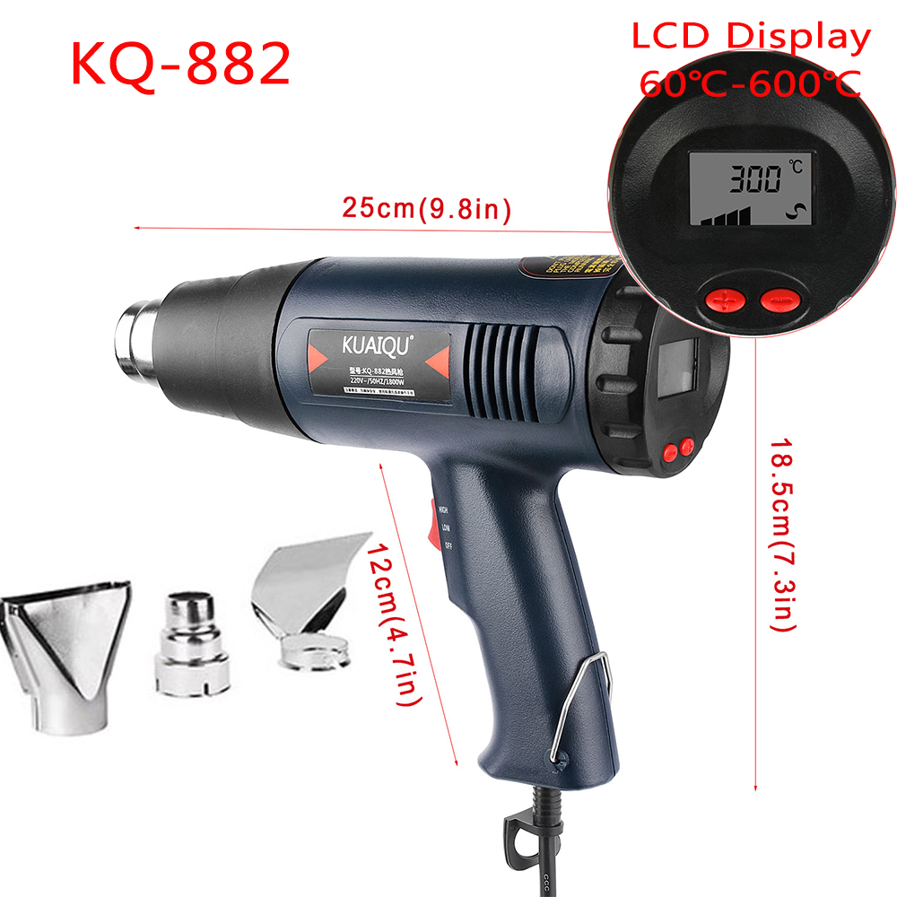 220V Digital Electric Hot Air Gun 1800W stepless Adjustable Temperature-controlled Thermal blower heat gun for Building and DIY