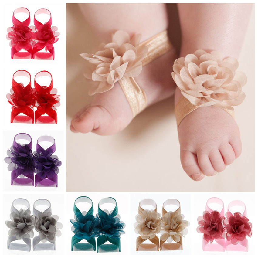 Yundfly 1 Pair Boutique Chiffon Flower Barefoot Sandals For Baby Girls Newborn Photo Props