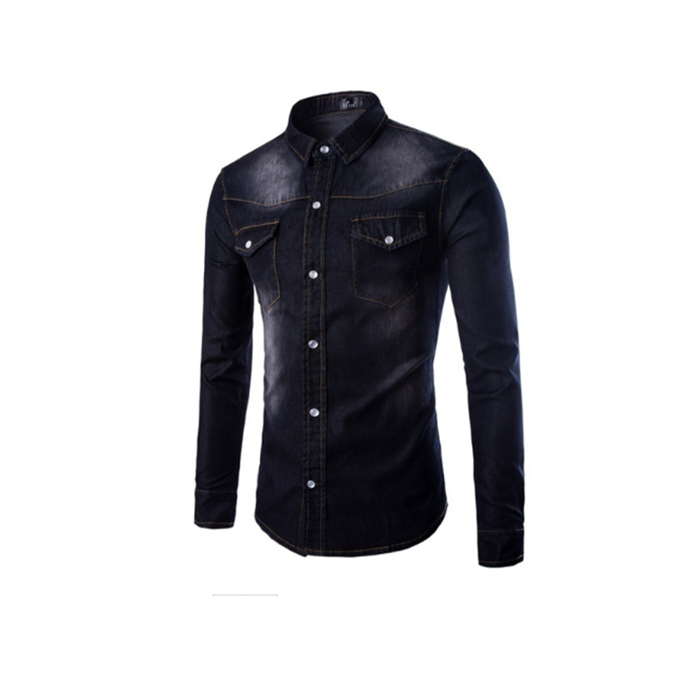 Hot Selling MEN'S Denim Shirts Slim Fit Long-sleeved Shirt