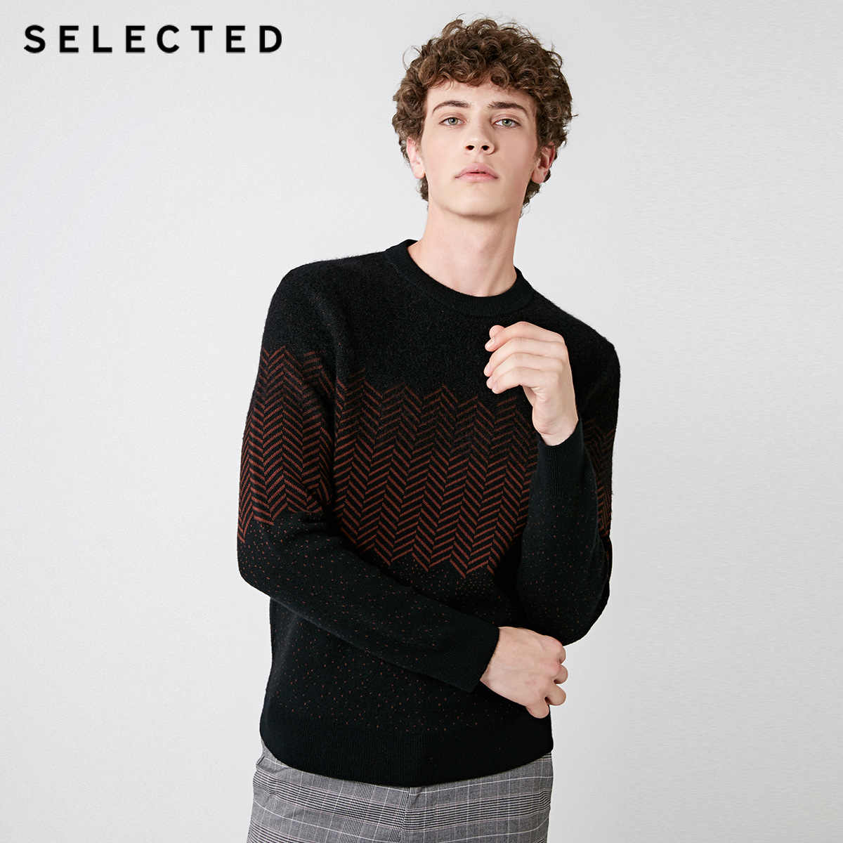 Выбранный осенне-зимний новый мужской шерстяной вязаный свитер с узором в елочку | 418425529