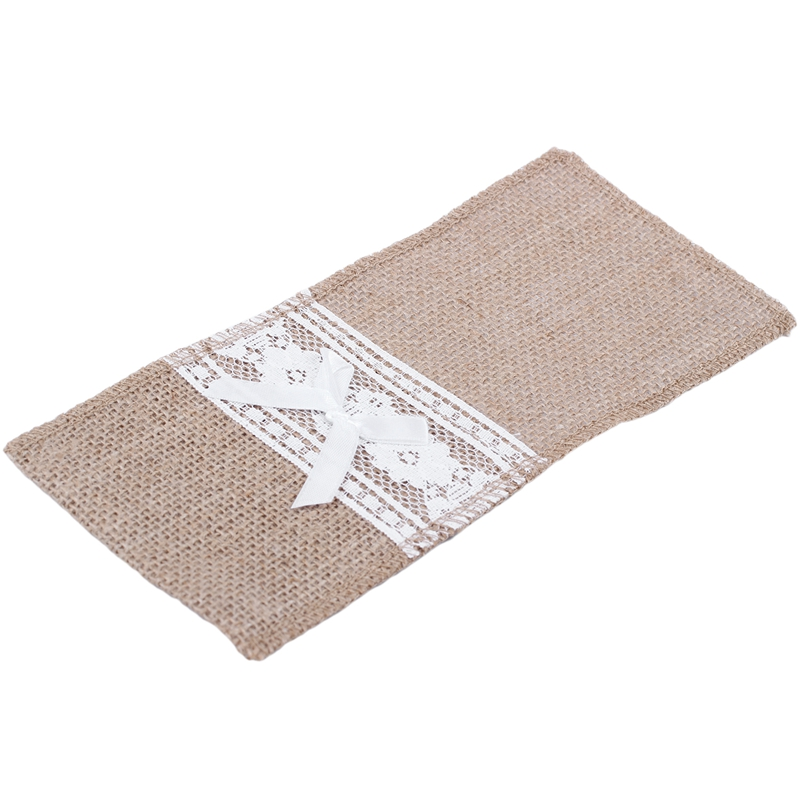 100Pcs/Jute Linen Cutlery Holder Vintage Shabby Chic Jute Lace Cutlery Bag Packaging Fork And Knife Pocket Home Textiles