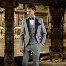 MENS Suits Pants-Set Wedding-Blazer Lapel Stage-Groomsman Black Fashion Single-Breasted