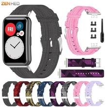 Canvas Nylon Strap Voor Huawei Horloge Fit Armband Polsband Vervanging Horlogeband Voor Huawei Horloge Fit Smart Horloge Band