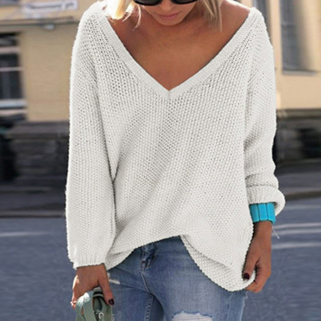Winter Fashion knitting Jumper Sweater Blouse Casual Loose V-Neck Streetwear Tee Tops Female Women Long Sleeve Blusas Pullover