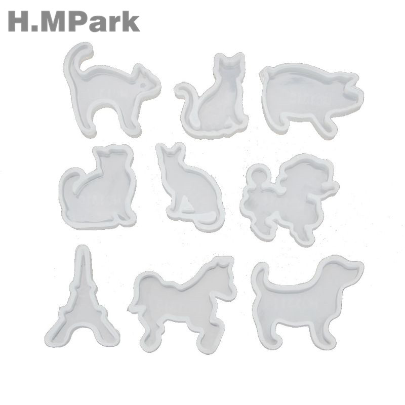 2019 New Arrival 9Pcs Animals Resin Mold Cat Dog Horse Pig Pendant Silicone Molds For Resin Handmade Jewelry Tools in Jewelry Tools Equipments from Jewelry Accessories