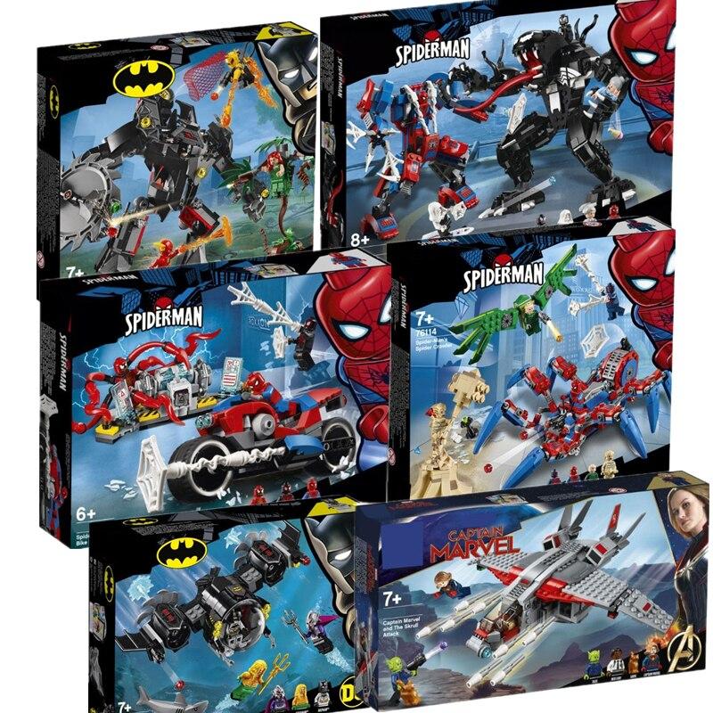 New SpiderMan Batman Marvel Super Hero 76113 76114 76115 76119 Building Blocks Brick Toys For Children