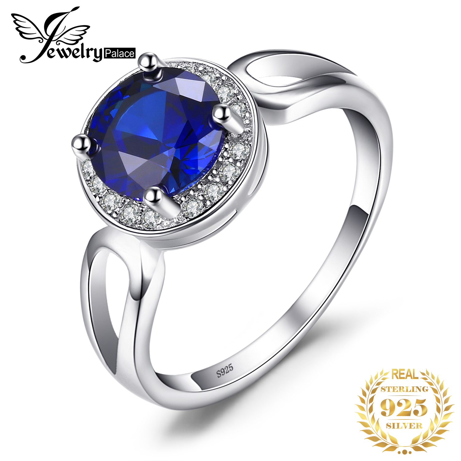 JewelryPalace Round Cut 2.2ct Created Blue Sapphire Engagement Halo Ring Solid 925 Sterling Silver Jewelry For Women Fashion