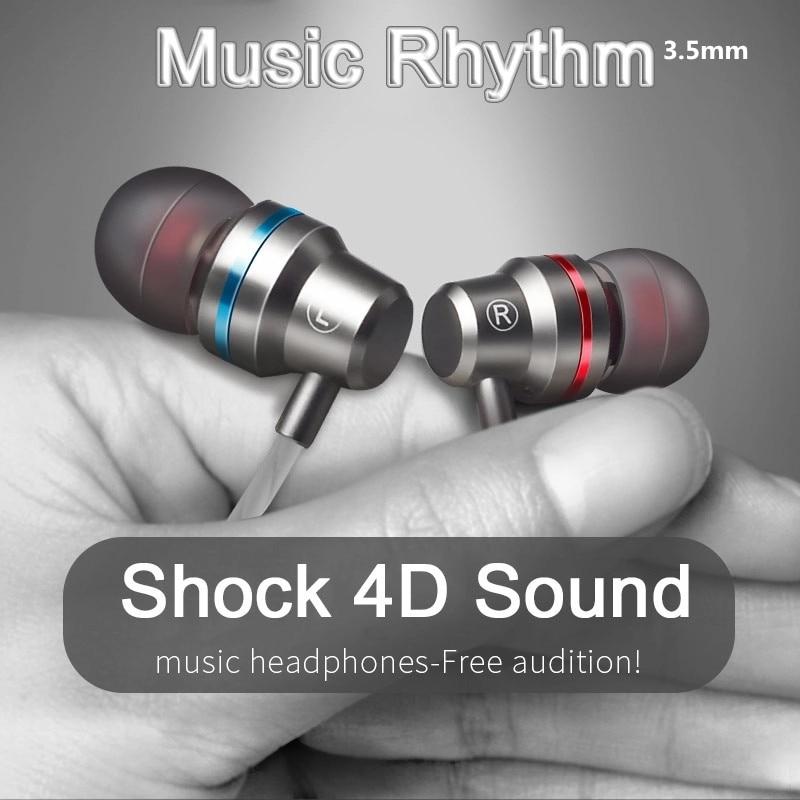 Металлические наушники 3,5 мм, 4D сабвуфер, Hi-Fi, диджейские наушники, наушники-вкладыши с микрофоном для смартфона