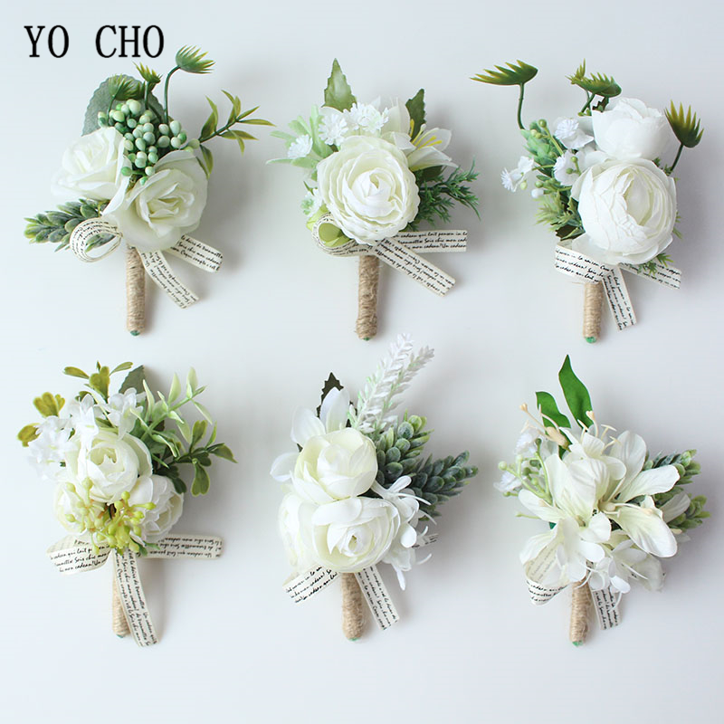 YO CHO Wrist Corsage Wedding Boutonnieres Artificial Silk Rose Bridal Wrist Flower Girl Bracelet Men Corsage White Boutonniere
