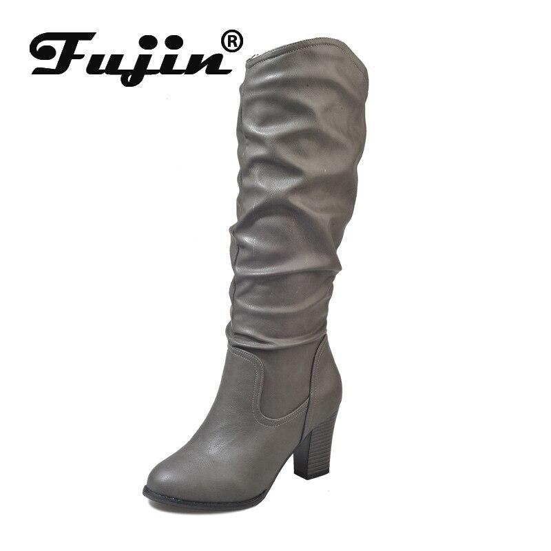 Fujin Winter Women Boots Heel European And American No Round-Head Thick Keep-Warm