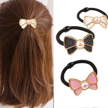 Women Headband Fashion Elastic Rubber Band imitation Pearl Bow Hair Ring Rope Headdress Flowers Accessories Tie Gum