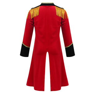 Image 2 - Kids Boys Children Circus Ringmaster Costume Fringes Gold Trimmings Tailcoat Jacket for Halloween Cosplay Carnival Clothes