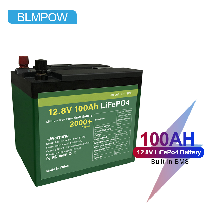 BLMPOW 12V 100ah Lifepo4 Battery Pack with Built-in BMS 100AH Waterproof Lithium Ion Batteries for Inverter, Boat Motor No Tax