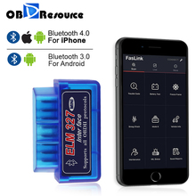 Bluetooth ELM327 iphone android用obdiiコードリーダーV1.5 V2.1 elm 327 faslink無料アップグレード