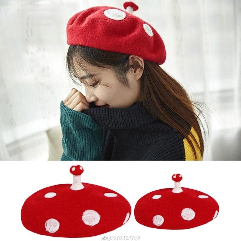 Women Kids Novelty Cute Small Mushroom Red Beret Cap Handmade Faux Felt Wool White Point Vintage Painter Beanie JY09 21 Dropship