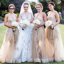 Сексуальные платья невесты vestido де феста casamento шлейф шампанское милая платье с кружевными аппликациями