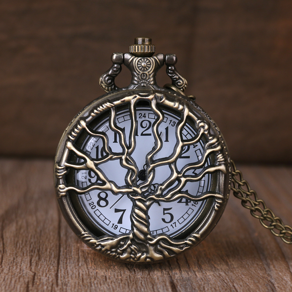 Hollow Retro Quartz Pocket Watch Necklace Chain Bronze Big Tree Carving Design Pendant Clock Fashion Fob Pocket Watch