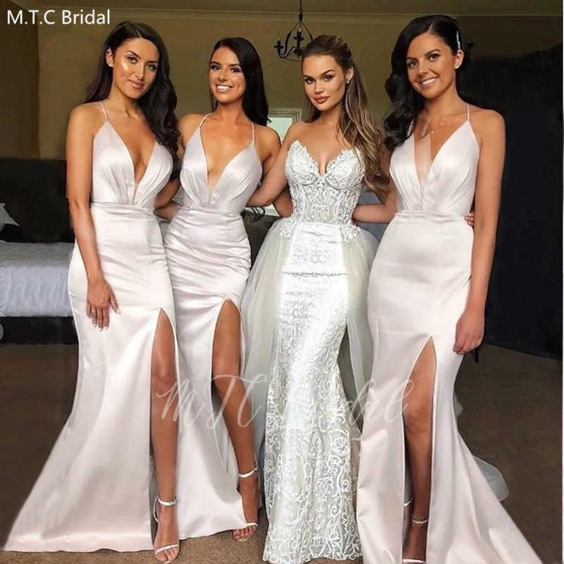 Y Mermaid White Bridesmaid Dresses