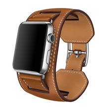 цена на Fashion cuff band for apple watch band 38mm 40mm 42mm 44mm Genuine Leather wrist belt Bracelet strap for iwatch Series 4 3 2 1