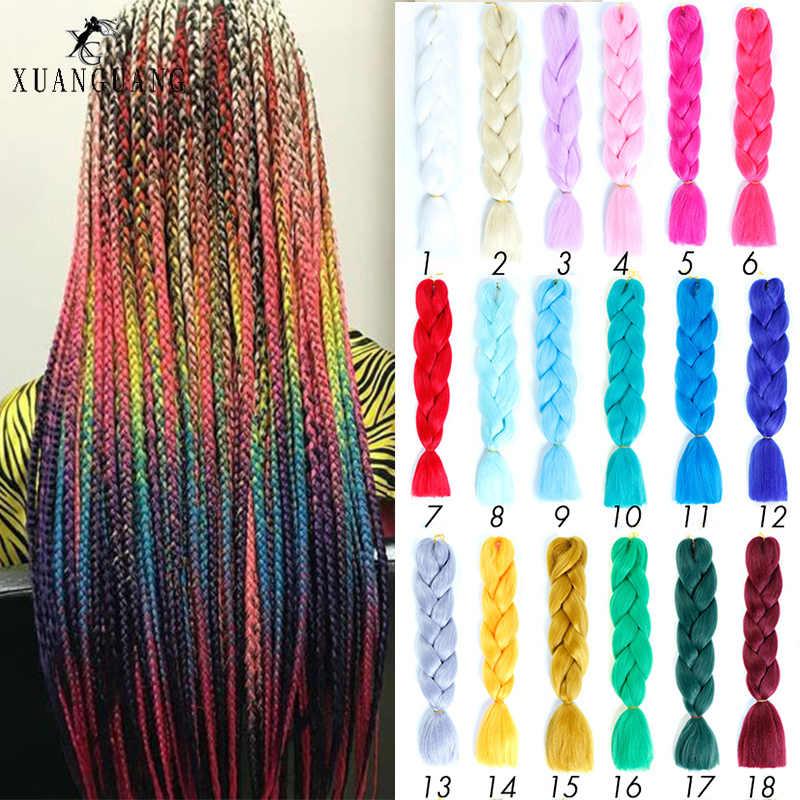 かつらビッグ編組髪かぎ針耐熱ヘアエクステンション 24 インチ合成高温繊維ブレイド