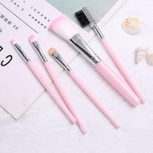 Professional 6 pink / black makeup brush set eyeliner eyelash eye shadow lip brush cosmetic makeup set portable
