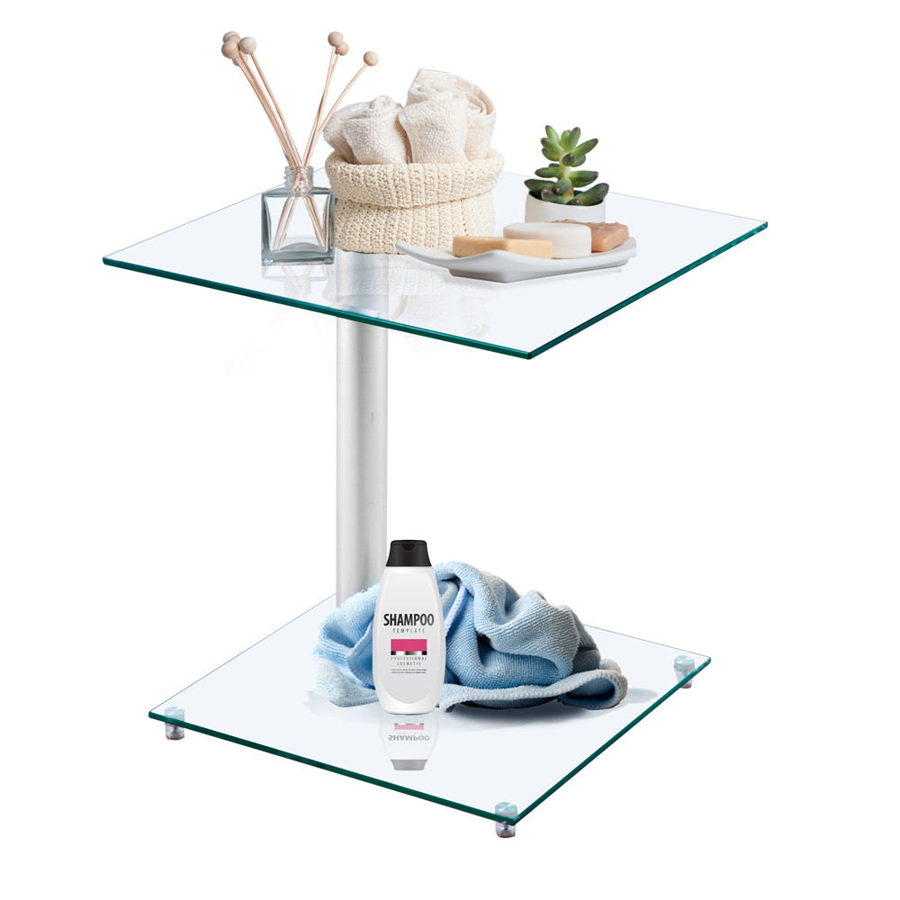 Home Side Tables Furniture Clear Glass End Table Living Room Table 2 Tier Square Glass Minimalist Office Magazine Storage Shelf - 4