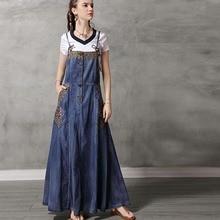 Free Shipping New Fashion Summer Embroidery Sleeveless Denim Dresses For Women Long Maxi M-XL Vintage Spaghetti Strap Dress