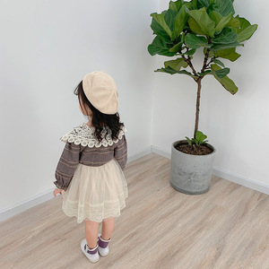 Image 3 - 2019 Autumn New Arrival Korean style cotton plaid matching princess long sleeve dress with lace collar for cute sweet baby girls