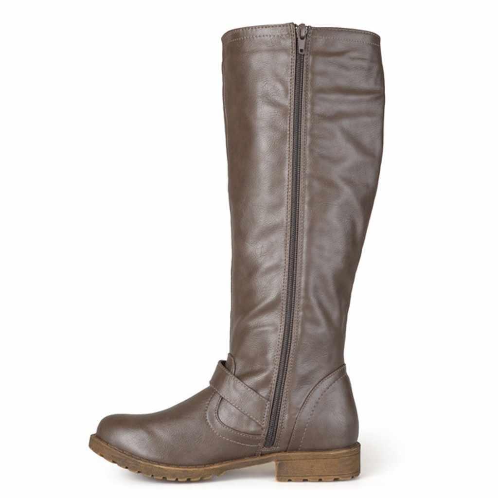 Retro perçinler uzun çizmeler moda kadınlar Zip kemer toka kayış uzun çizme motosiklet botları kış düz topuk Retro sıcak kar çizmeler