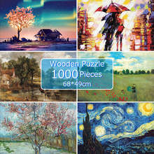 wooden jigsaw picture 68*49 cm puzzles 1000 pieces educational wooden toys puzzle for adults children kids games brain teaser