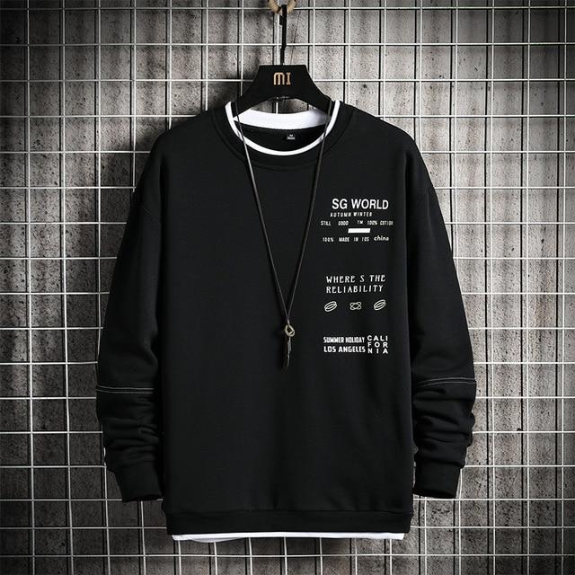 Round Neck Men's Hoodie Casual Print Long Sleeve Sweatshirt Men Hip-Hop Streetwear Trendy Pullovers Harajuku Style Autumn Spring 2