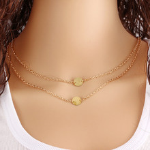 Fashion Geometry Round Multi-layer Chain Necklaces For Women Simple Design Gold Color Pendant Choker