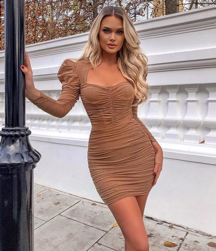 New Arrivals Winter Bodycon Bandage Dress 2020 Sexy Long Sleeve Mesh Ruched Designer Fashion Evening Party Dress Vestido