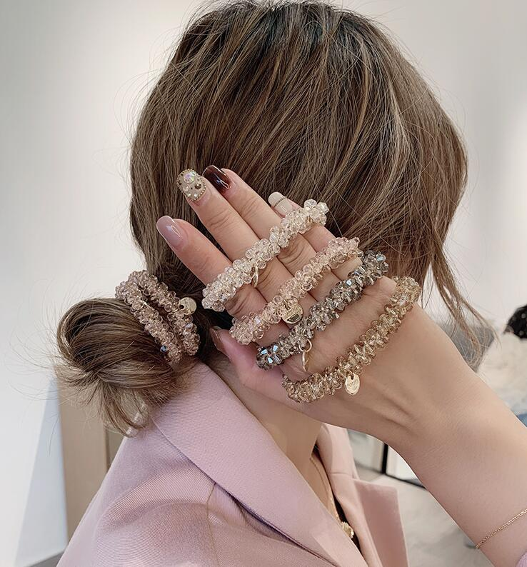 Women Elegant Crystal Pearl Hair Ring Ties  Beads Ponytail Holders Hair Accessories Elastic Hair Band Girls Scrunchies Bracelet
