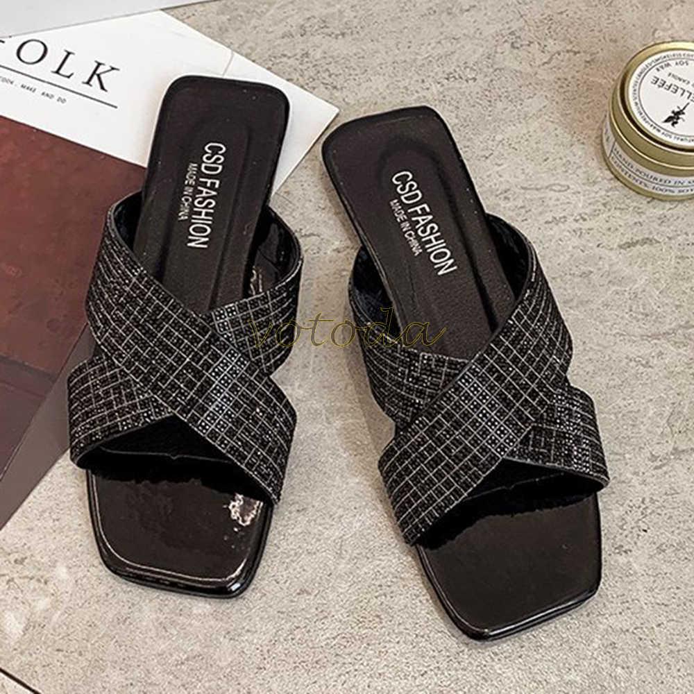 Femmes Strass Chaussons diapositives plaine été Plage Tongs Sandales Chaussures SZ