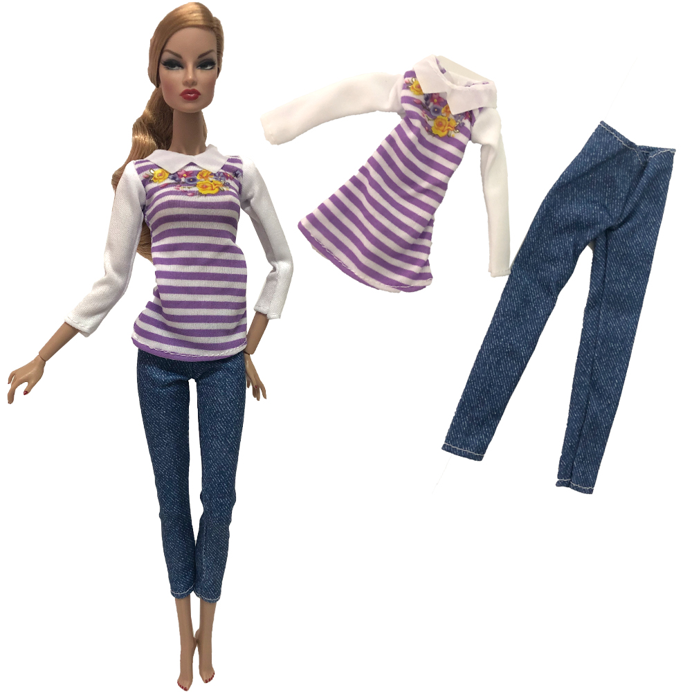 NK 2020 Newest Doll Noble Casual Set Exquisite Handmade Party Fashion Dress  For Barbie Doll Best Child Girl Gift 264A 1X