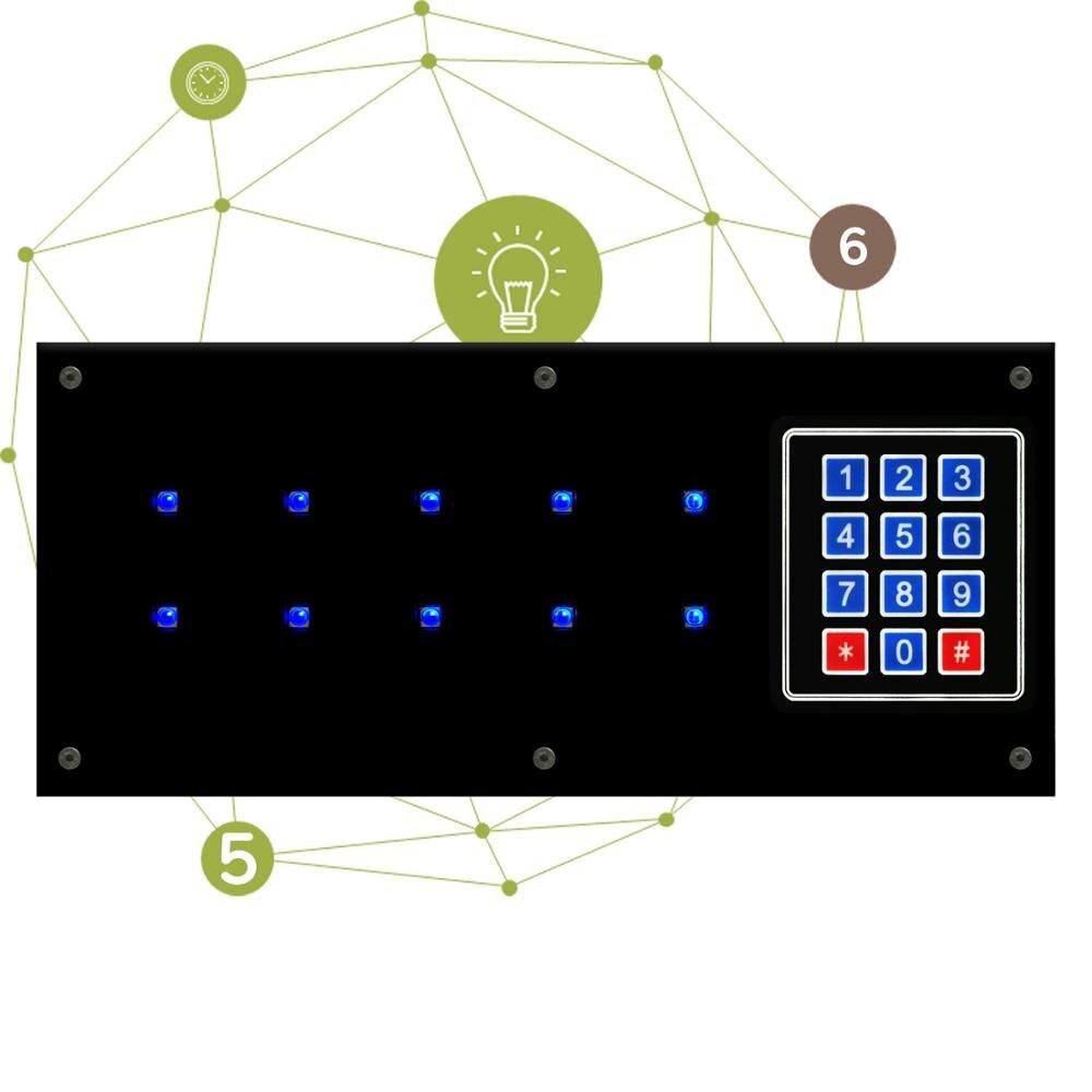 Panneau de mémoire bleu accessoires de salle d'évasion panneau de diodes bleues takagisme mémoire légère travail d'équipe jeu réel